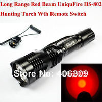 Hunting Torch + UniqueFire HS-802 Red LED XRE 250 Lumens Long Range Beam 1-Mode LED Flashlight Torch+Remote Switch+Free shipping