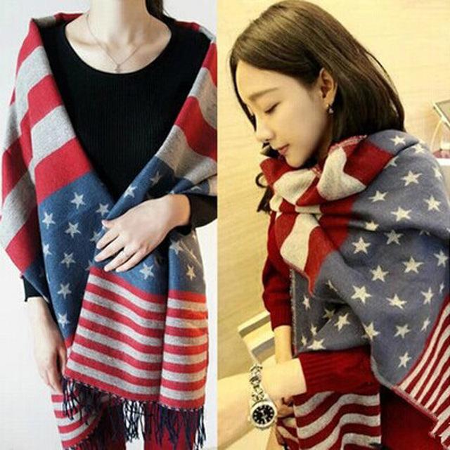 Осень / зима согреться звезд американского флага полосатый шарф мужской дамы шерсть бахромой платок cachecol W1029