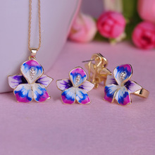 Free Shipping Enamel Fine Jewelry Set Flower Pendant Thin Necklace French Hooks Earrings Ring Anel Bijuteria Wedding Accessories(China (Mainland))