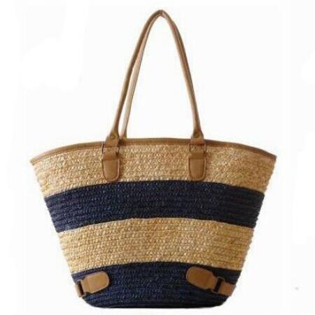 New 2015 Fashion Womens Straw Summer Weave Woven Shoulder Tote Shopping Beach Bag Purse Handbag Straw Beach Bags