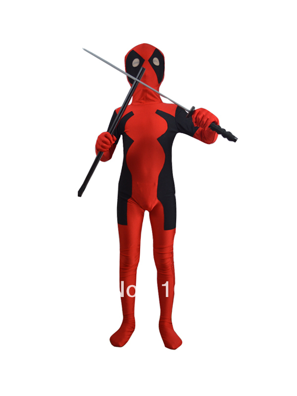 free shipping children deadpool costume fullbody red black kids deadpool costumes for halloween party show custom made allowed(China (Mainland))
