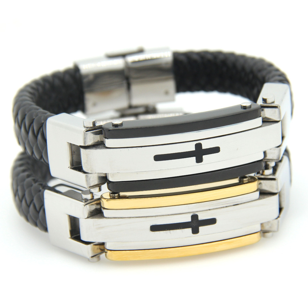 2015 New Loom Bands Mens Leather Bracelets Brazaletes 220mm Length Filled Stainless Steel Charm Bracelet 15mm Wide Arm For Man(China (Mainland))