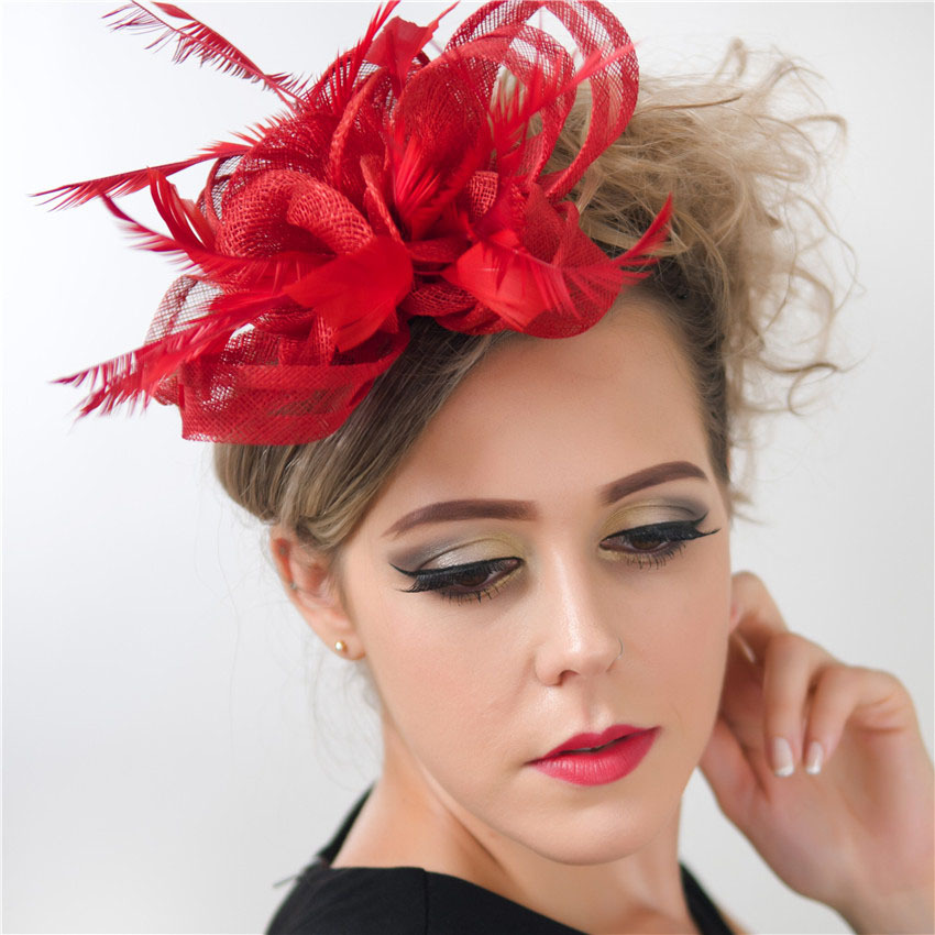 Women Floral Sinamay Feather Fascinators with Clip and Headband Charming Headpiece for Wedding Party Cocktail SFCS12209 8pcs/lot(China (Mainland))