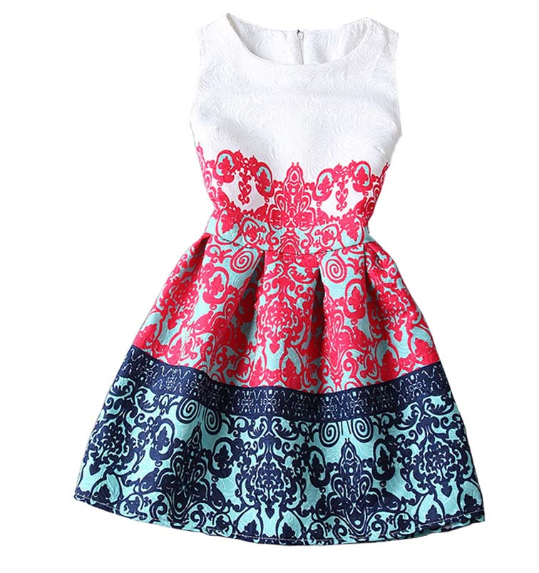 Summer style 2015 Fashion A Line women maxi evening party casual vintage dresses printing sleeveless Vestidos