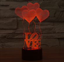 3D Illusion Heart Ballons LED Bulbing Night Light Romantic Atmosphere Table Lamp Home Decor Gadget Nightlight Gift for Lovers(China (Mainland))