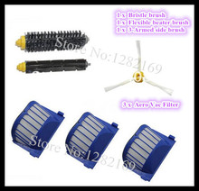 (6 pieces=Brush 3 armed kit  +3x Aero Vac Filter) for irobot roomba 600 Series 620 630 650 660 Free Shipping to Europe !