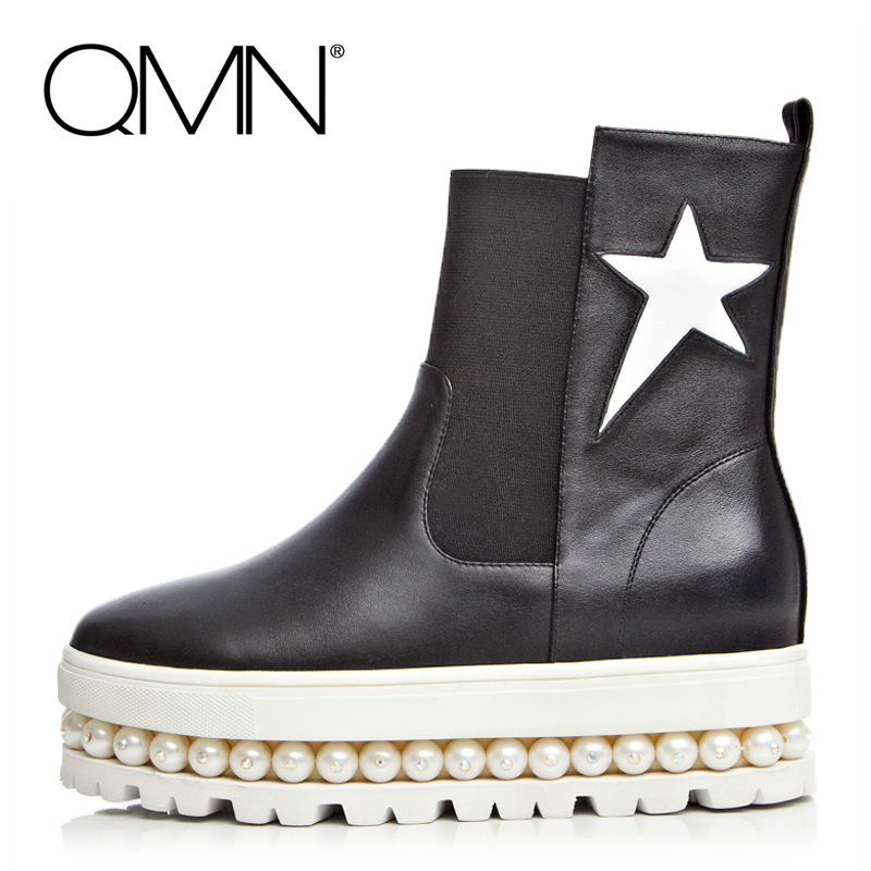 Фотография QMN women ankle boots Genuine Leather Ankle Boots For Women Beading Flat Platform Shoes Woman Leather Bootie Botas Femininas