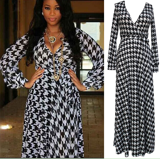 Black and white long sleeved maxi dress