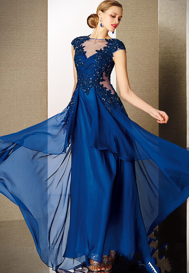 blue V-neck none floor-length cap sleeve lace short sleeve chiffon popular group of evening dress(China (Mainland))
