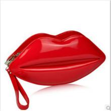 Big Lips Pattern Women Lady Clutch Chain Shouder Bag Evening borsa Metal Chain Red Lips Shape Purse Leather Handbags Sacs