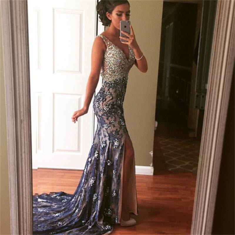 Navy blue lace mermaid evening dress 2016 elegant sexy v for Sexy dresses for wedding guests
