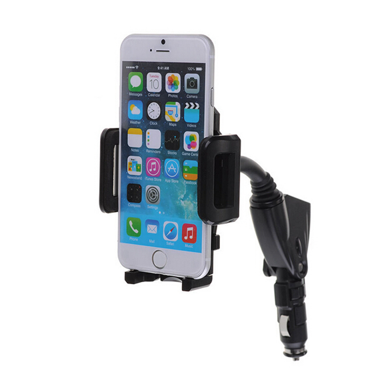 Dual usb 2port car charger cell phone mount holder 9