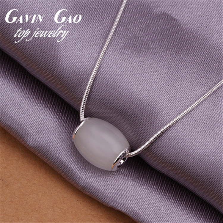 Wholesale 2015 New Silver Plated White Rhinestone Simple Single Bead Pendant Necklace For Girls Statement Jewelry(China (Mainland))