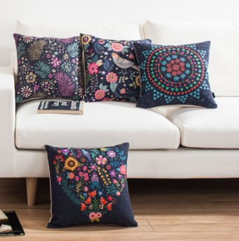 Wholesale Dark flowers Cushion Decoration Nordic retro pastoral Sofa Pillow European minimalist Chair Cushions free shipping