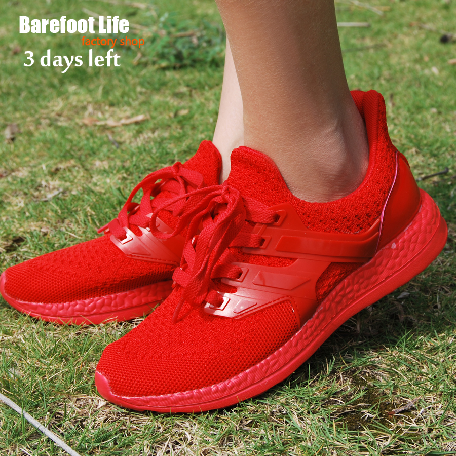 barefoot life red sneakers woman and mansport running