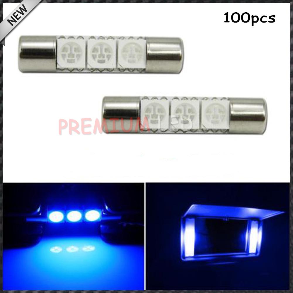 100pcs Blue 29mm 3-SMD 6641 Festoon LED Replacement Bulbs For Car Vanity Mirror Lights Sun Visor Lamp(China (Mainland))
