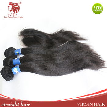 Grade 6A 3pcs 100% Virgin Brazilian Hair bundle with the closure straight hair extensions with swiss lace closure free shipping