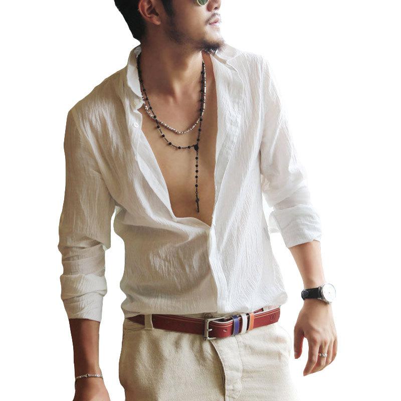 Casual Hawaiian Shirts Men Shirts White Linen Office Slim Fit Shirts Long Sleeve Designer Men Clothes 2015 Hot Fashion Style (China (Mainland))
