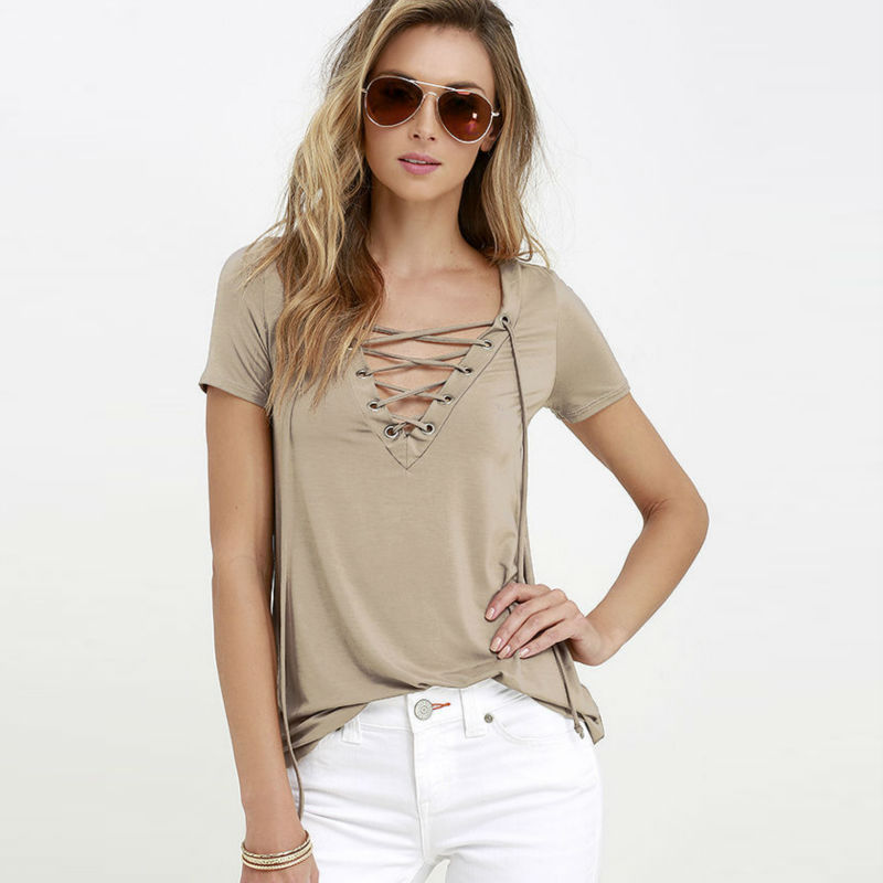 Women's Trendy Lace Up String Causal Short Sleeve Blouse Shirts in Various Color from S-3XL Plus Size(China (Mainland))