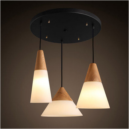 Фотография New Nordic Duplex wood Scrub glass Chandeliers E27 Personalized Art restrant lamp