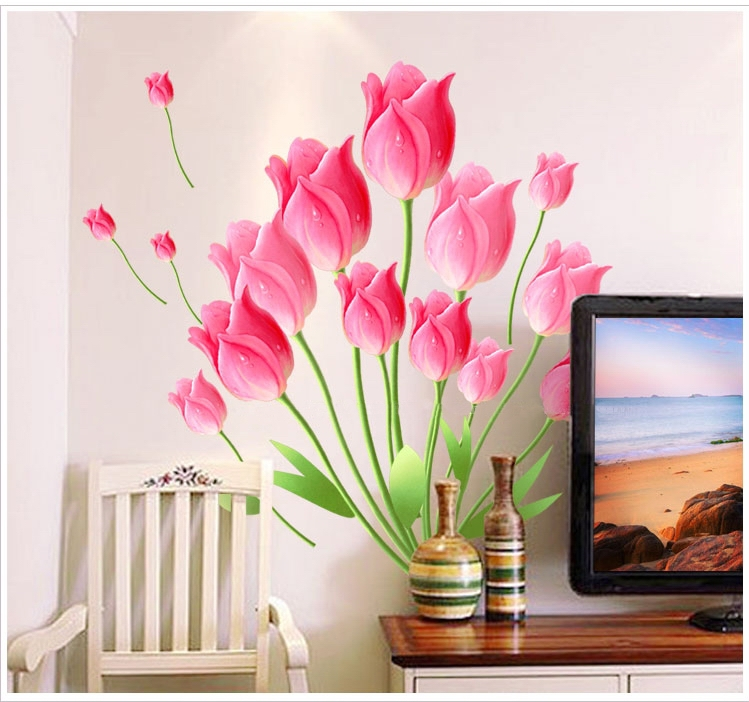 large tulip flowers vinyl wall stickers adhesive pink art decals paper cheap girls women living room home decor accessories(China (Mainland))