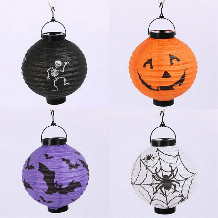 Halloween Paper Pumpkin Lantern LED hanging Light Holiday Home Decoration Novelty Great Gift for Halloween Party decor 1989(China (Mainland))