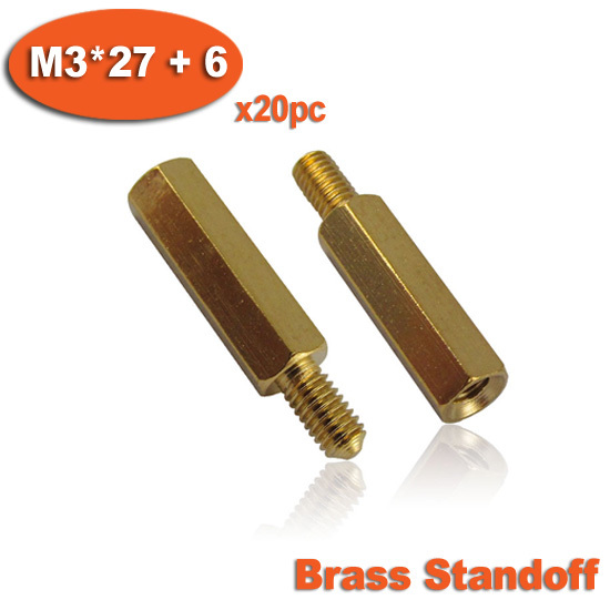 20pcs Male To Female Thread M3 x 27mm + 6mm Brass Hexagon Hex Standoff Spacer Pillars<br><br>Aliexpress
