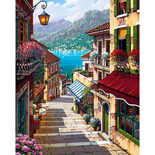 Frameless 40x50cm Coffee Town Landscape Painting By Numbers Wall Art Diy Digital Oil Painting Home Decor For Room Decoration(China (Mainland))