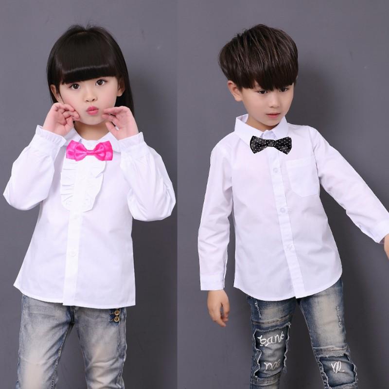 New Girls School Blouses White Boys And Girls Boys Shirts Boys Dress Shirt Girls Blouse 6BBL105(China (Mainland))