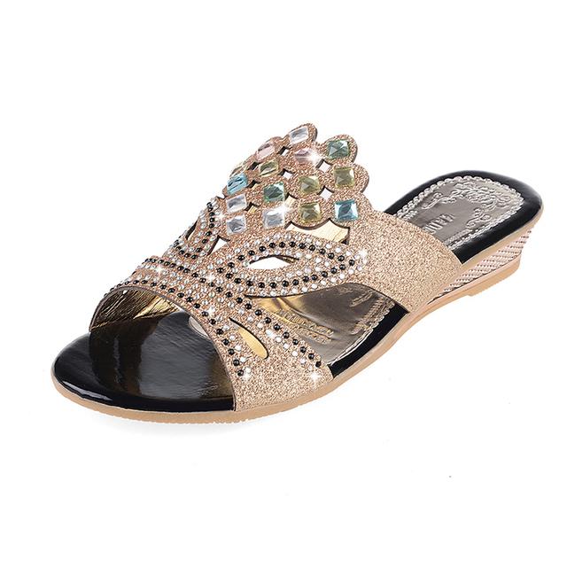 Летняя мода горный хрусталь вырезы сандалии женщин peep toe Партия летняя обувь женщина ...