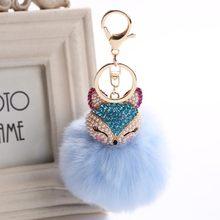 Encantos de cristal do falso pele de raposa chaveiro feminino sacos acessórios pingentes chaveiro chaveiro do carro presentes de brinquedo llaveros natal(China)