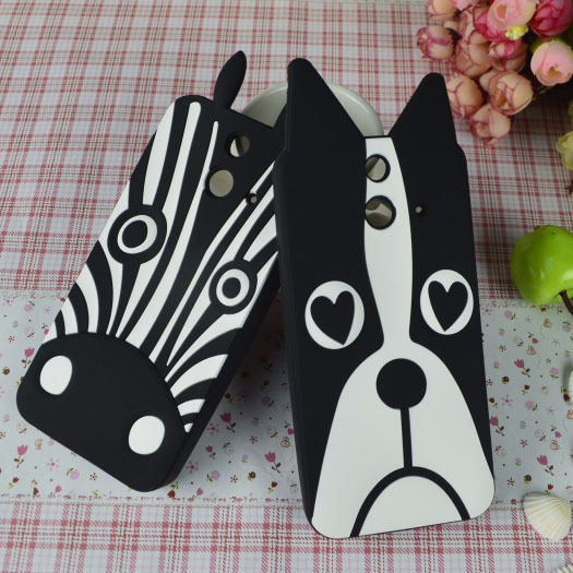 New Arrival Cute White&Black Lovely Dog Zebra Rubber cell phone case for HTC One E8 back cover Hood Shell Housing Bag(China (Mainland))