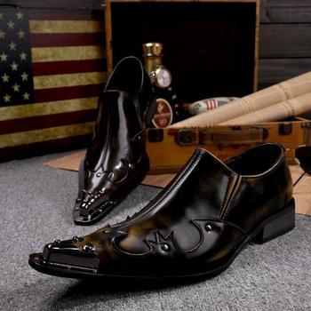2015 новый мужская обувь ручной работы из натуральной кожи мужская формальные свадебное ну вечеринку туфли мужчины шипы металлический наконечник костюм обувь