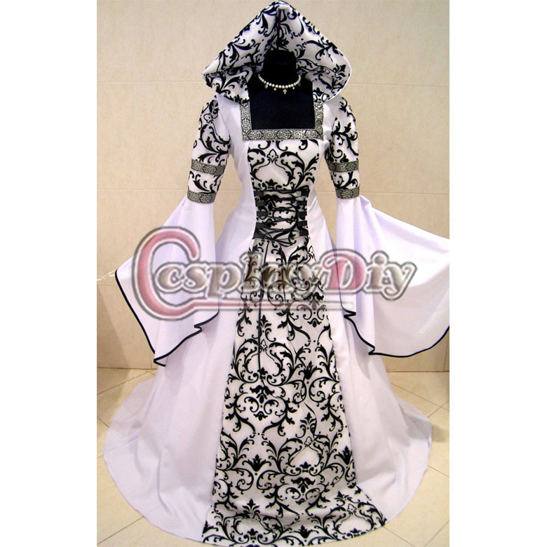 Custom Made White and Black Medieval Victorian Renaissance Gothic Wedding Dress Vampire Costume Hooded Adult Women Plus Size(China (Mainland))