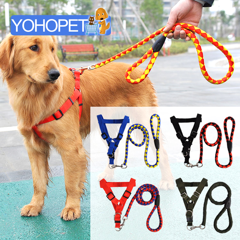 Brand new Polyester nylon Dog leash and chest suspenders harness Suit big dog Chest Strap Retriever Large Dog Leash and harness(China (Mainland))