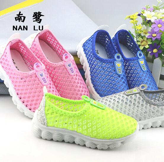 Лето дышащей детская обувь для мальчиков для девочек мода кат-аутов дети кроссовки ...