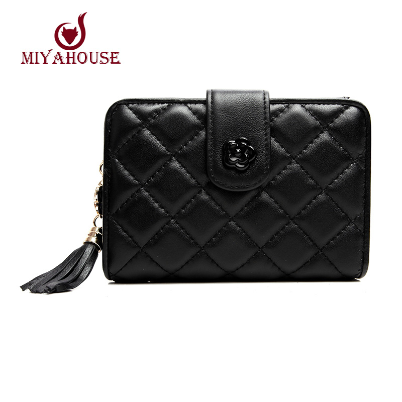 Hot Sale Women Short Hasp Wallets Lady Plaid Coin Purse Clutch Genuine Leather Female Credit Card Wallet Retro Tassels Clutch(China (Mainland))