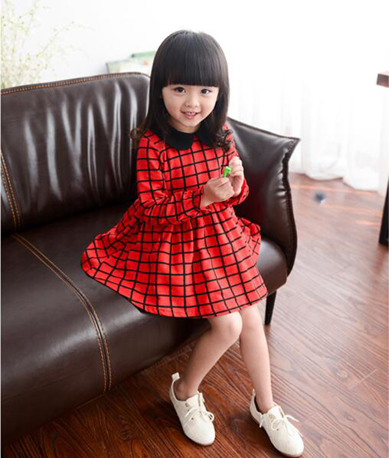 Retail Girl Dress 2016 Red Long Sleeve Plaid Kids Dresses For Baby Girl Clothes High Quality Fashion Girls Clothing robe fille(China (Mainland))