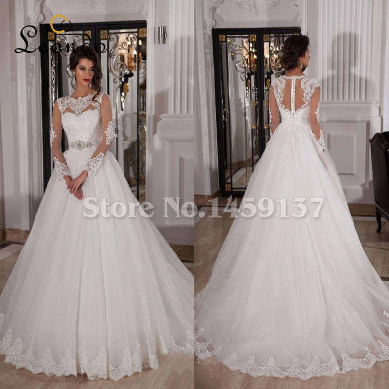 Russia Lace Wedding Dresses 2015 Sale Sexy Long Sleeve Sweep Train Ivory Robe De Mariage Sheer Neck Naviblue Bridal Gowns(China (Mainland))