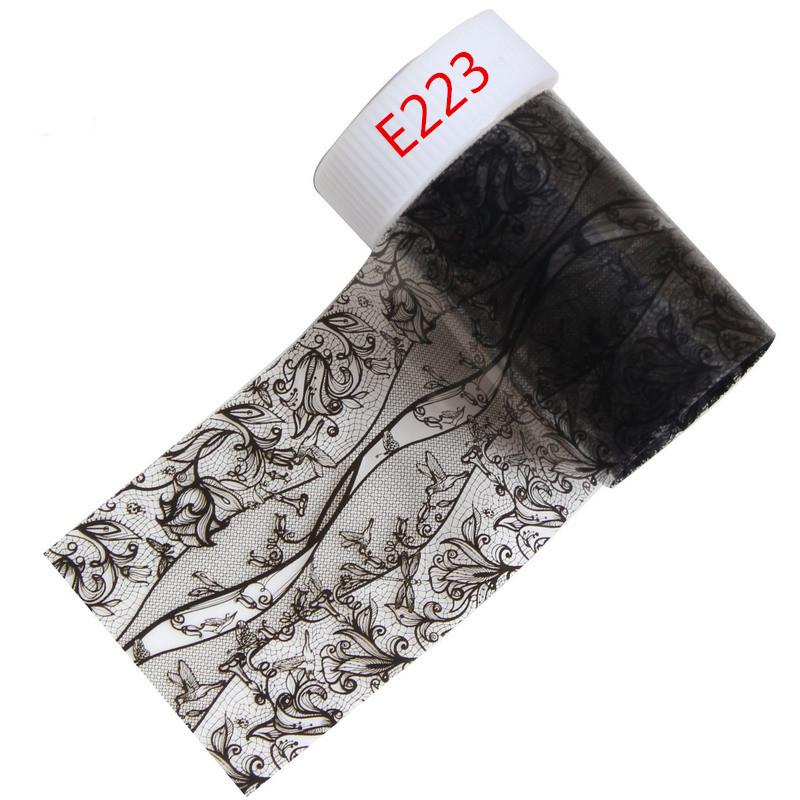 21 Estilos Opcional Sexy Black Lace Folha de Prego Transferência Art Foils Etiqueta Decalques Unhas Beleza Polonês Wraps Dicas de Decoração Ferramenta