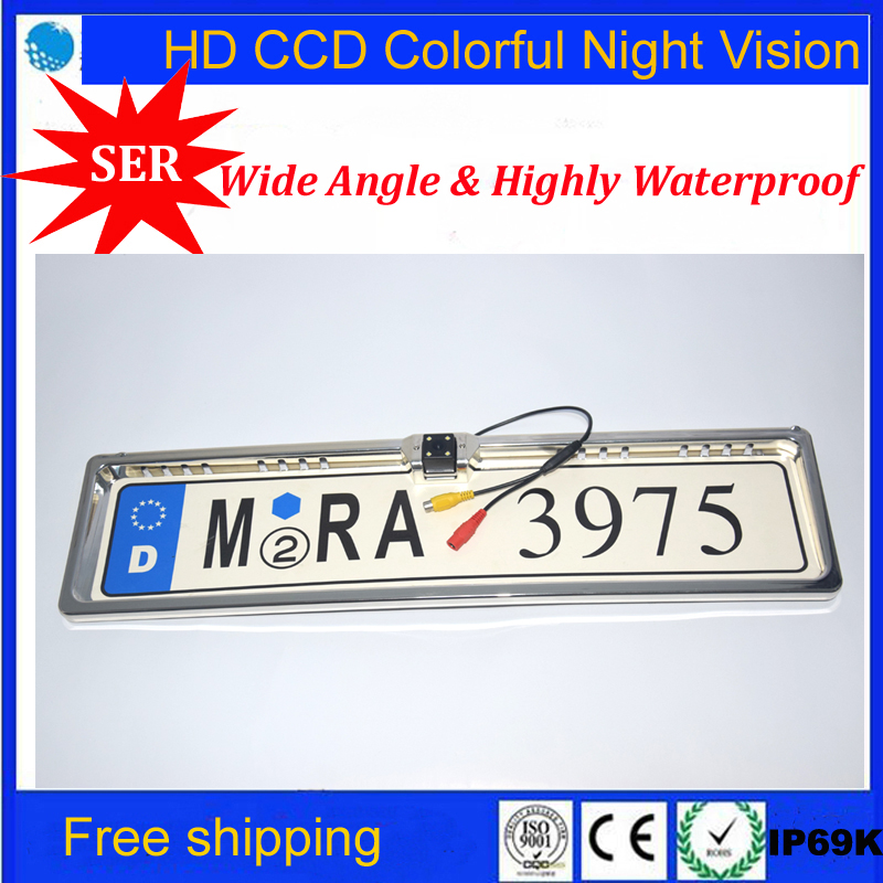 Hot Sell Car European license plate frame Rear View backup Camera HD CCD Car Rear View Camera For All Cars Factory Promotion(China (Mainland))