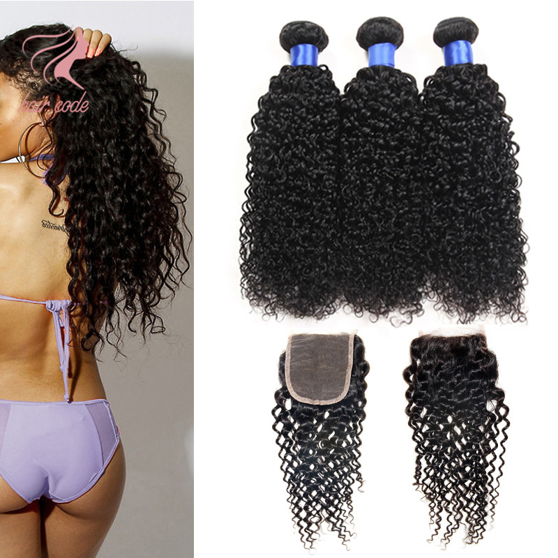 Grade 7A Malaysian Curly Hair With Closure 3/4 Malaysian Virgin Hair Bundles With Lace Closures Human Hair With Closure HC Hair(China (Mainland))
