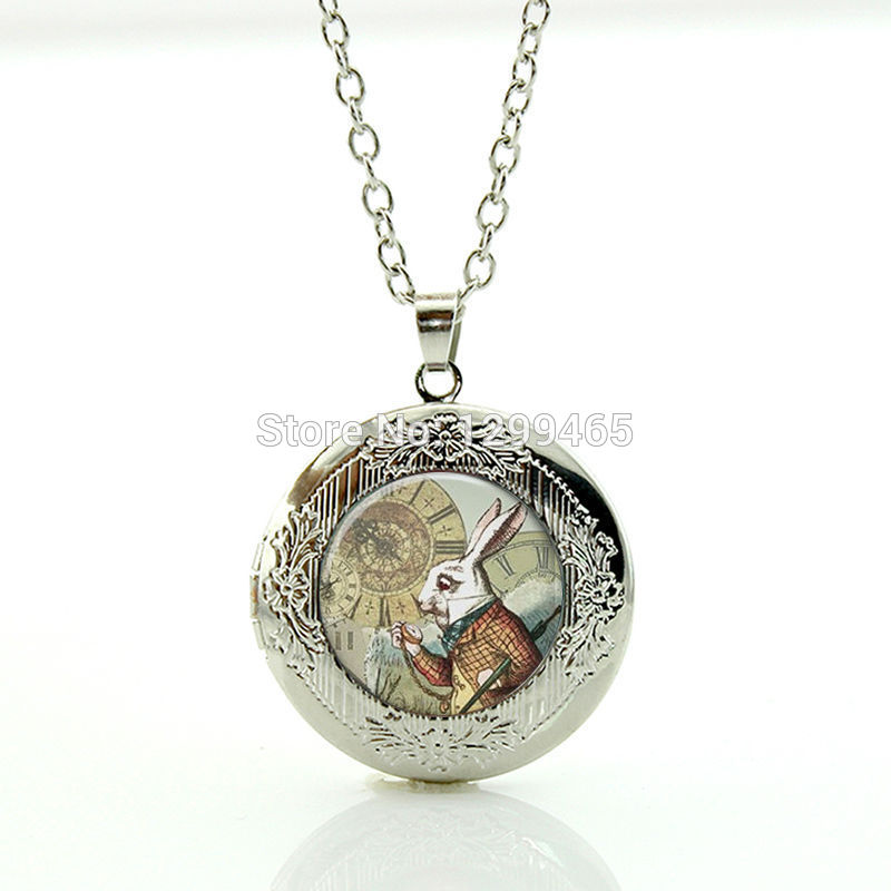 Alice In Wonderland Necklace Glass gem White Rabbit Locket pendant for boys girls Wearable with silver Chain necklace WNK191(China (Mainland))
