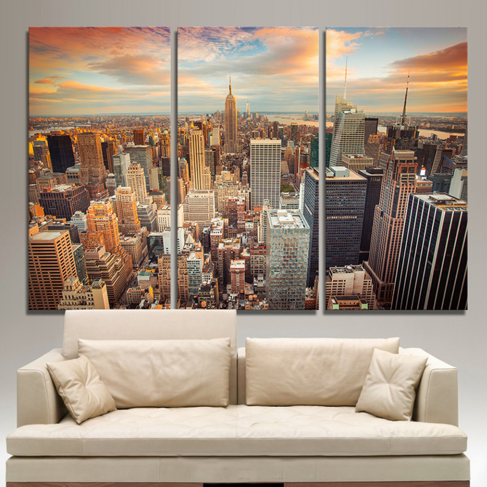 3 Panels Canvas Print New York Two Painting On Canvas Wall Art Picture Home Decoration Thr012 In