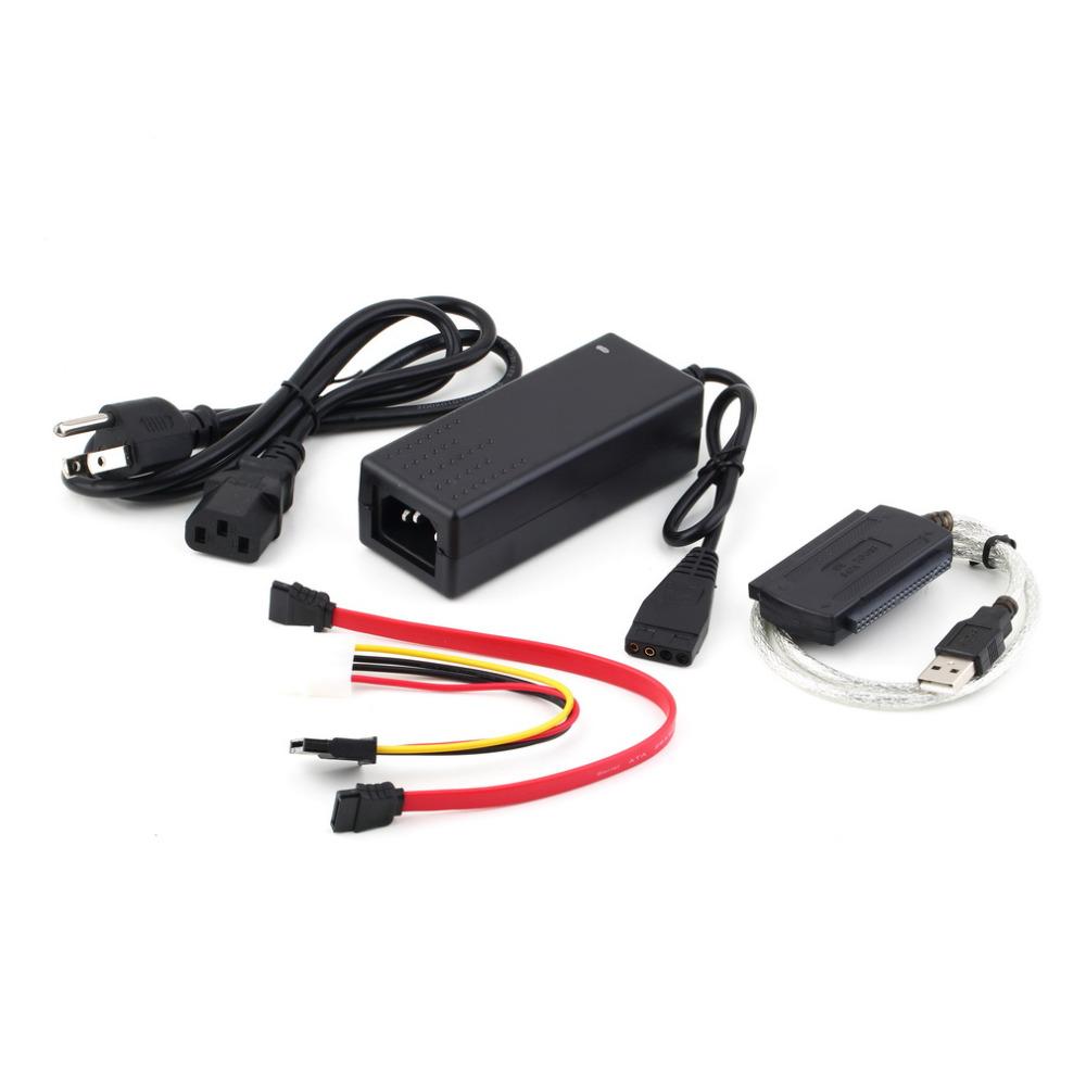 1pc USB 2.0 to IDE SATA S-ATA 2.5 3.5 HD HDD Hard Drive Adapter Converter Cable, US and EU plug(China (Mainland))