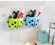 New Cute Funny Cartoon Yellow/Red/Blue/Green Ladybug Sucker Suction Hook Tooth Brush Holder Free Shipping(China (Mainland))