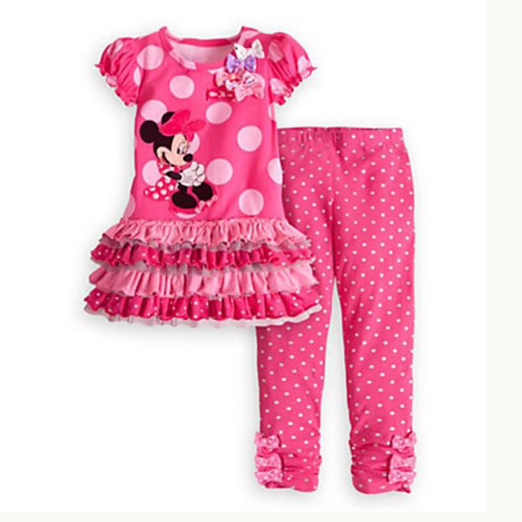 2T 3T 4T 6T 7T Cartoon minnie mouse children clothing set 2 pcs suit girl's dot dress tops shirts + pants suits outfits(China (Mainland))