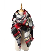 Winter Fall Fashionable Tartan Knit Soft Warm Snug Women Plaid Blanket Pashmina Colorful Scarf New Stylish Design