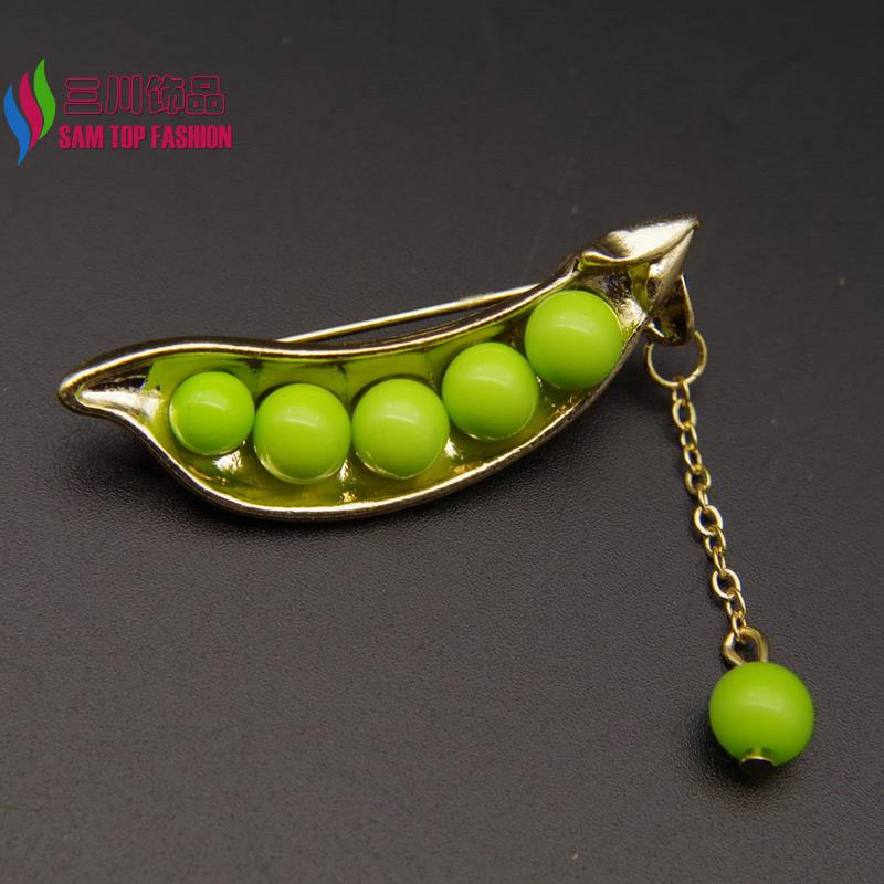 2016 Hot SALE Brooches Fashion lovely Green Beaded Golded Peas Costume Brooch Pins Accessories For Women alfileres broches(China (Mainland))
