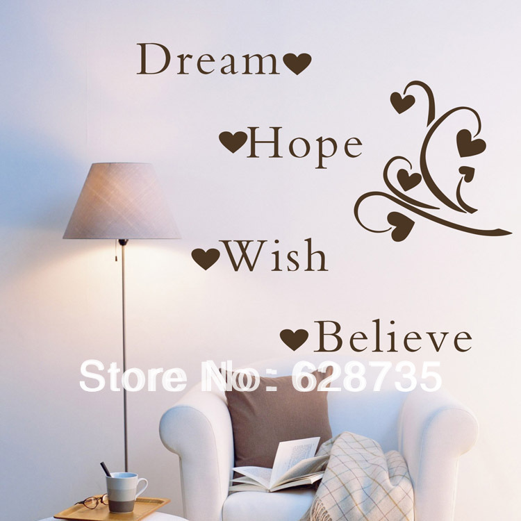 Large size free shipping Dream Hope Wish Believe Inspirational Words Removable Wall Quotes wall word art decals sticker q0142(China (Mainland))